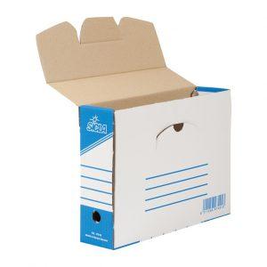 Boite en carton ondule a micro cannelure, très résistant, avec couvercle et trois emplacement pour l`identification du contenu et un trou de préhension, livrer aplat.